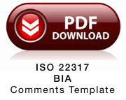 Comments template for ISO 22317 Business Impact Analysis