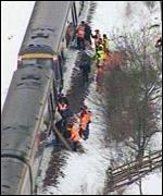 Trains come to a halt in Snow